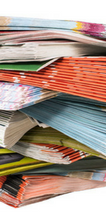 Stack of colourful pamphlets